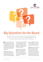 Big Questions for the Board