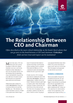 The Relationship Between CEO and Chairman