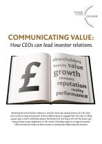 Communicating Value - How CEOs can Lead Investor Relations