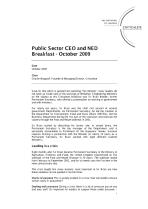 Public Sector CEO and NED Breakfast - October 2009